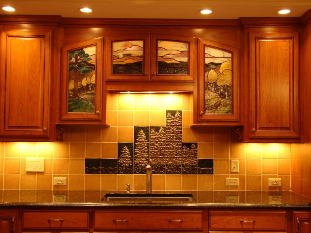 Mural kitchen backsplash - unique asymmetrical design ...
