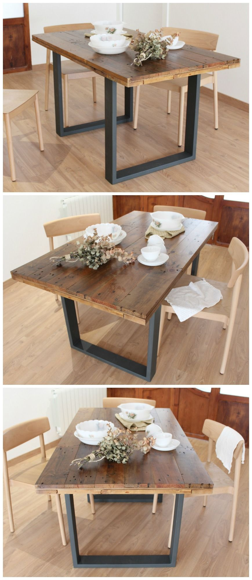 ALCAZABA mesa de comedor | Mesas de madera reciclada, Mesa ...