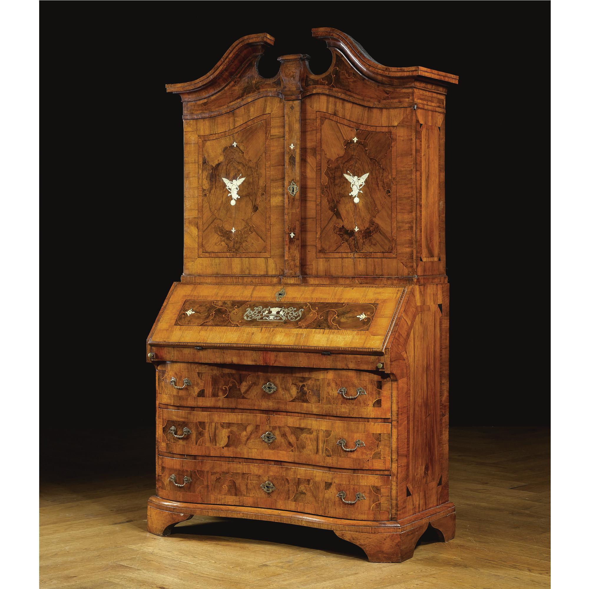 A North German Walnut Burr Walnut Pewter And Ivory Inlaid Bureau Cabinet Br Brunswick Baroque Mid 18th Century Lot Barock Mobel Barock Biedermeier