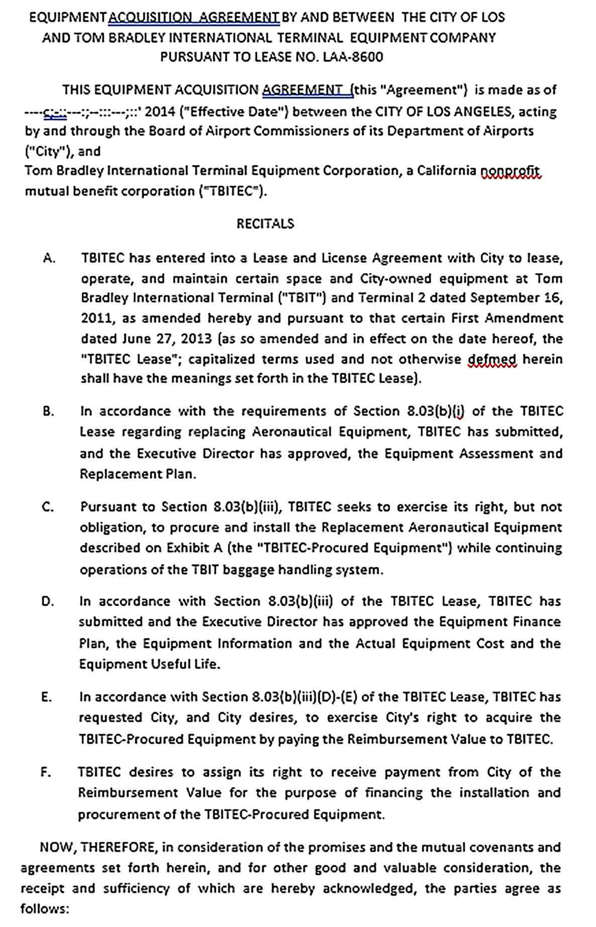 Sample Acquisition Agreement Template