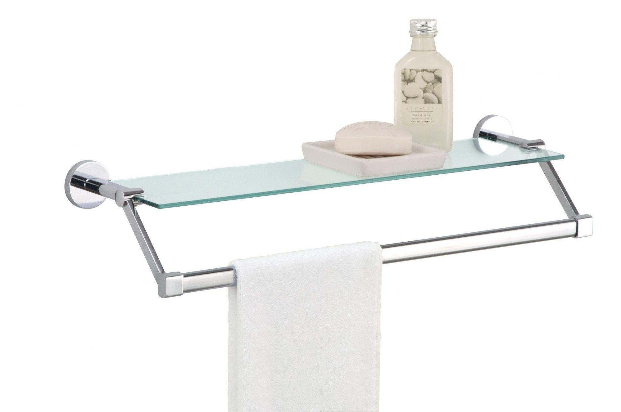Bathroom towel bar with shelf | Bathroom shelves | Pinterest | Glass ...