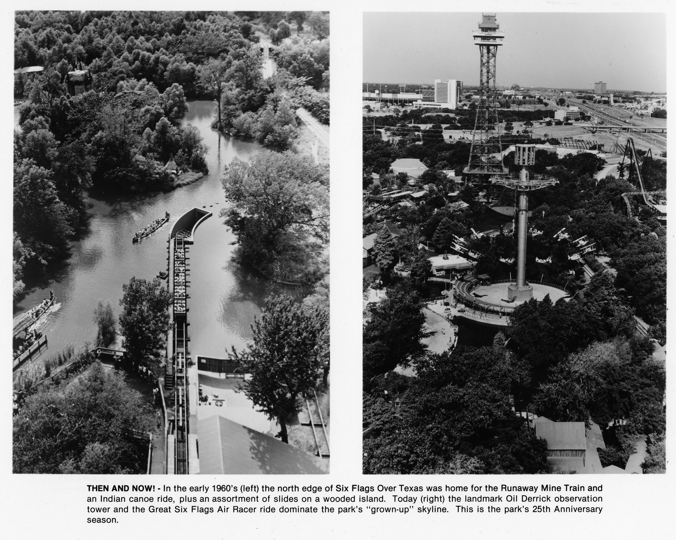 Six Flags Over Texas Then And Now Runaway Mine Train And Canoe Ride In 1960s Oil Derrick Observation Tower And Air Six Flags Over Texas Six Flags Arlington