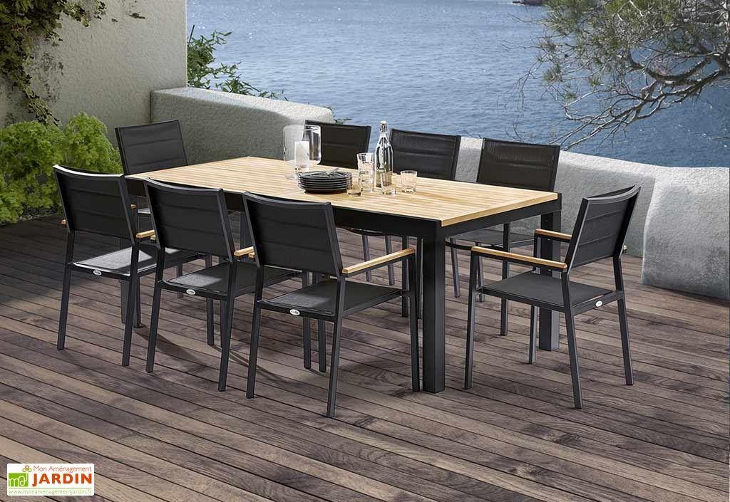Salon de Jardin Bali Aluminium et Teck : Table Extensible + 8 ...