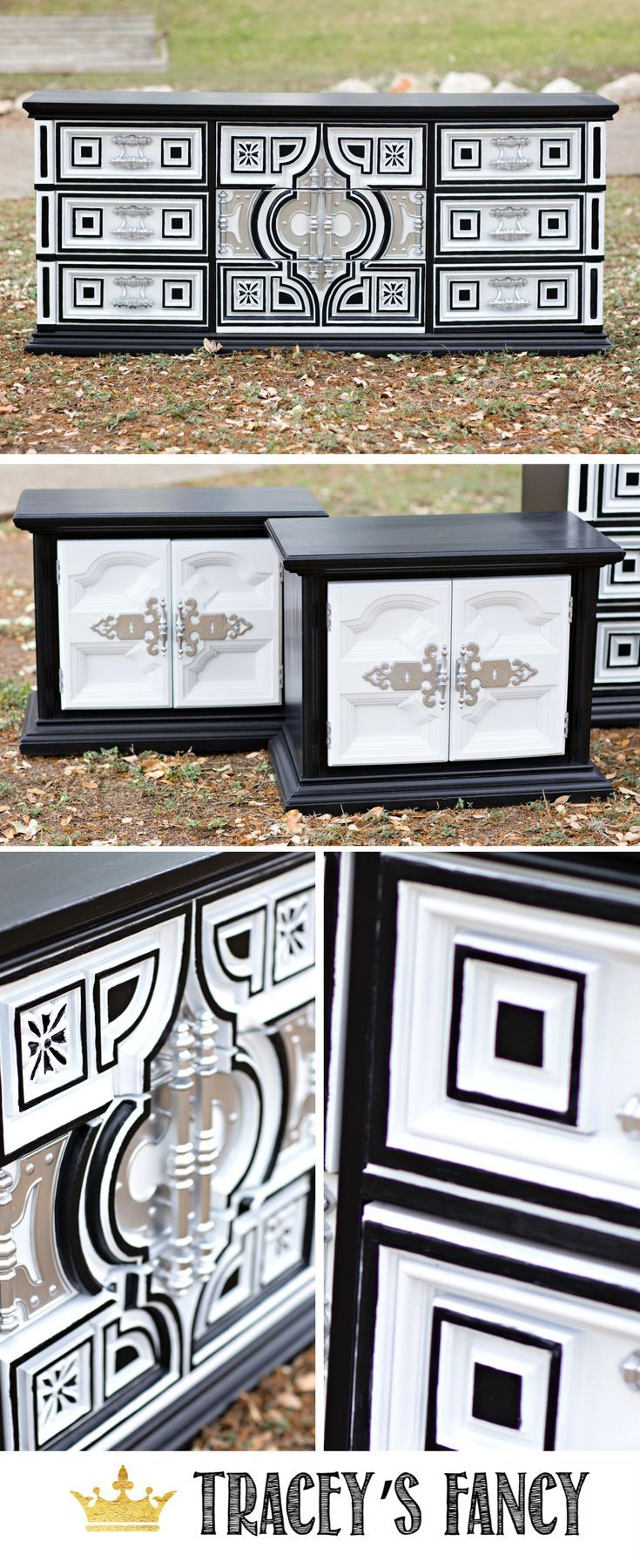 black white style modern bedroom silver. This Black And White Bedroom Set Is Hollywood Regency With Silver Handles By Tracey\u0027s Fancy. Here\u0027s A Furniture Makeover From Dark 70s Spanish Influence To Style Modern