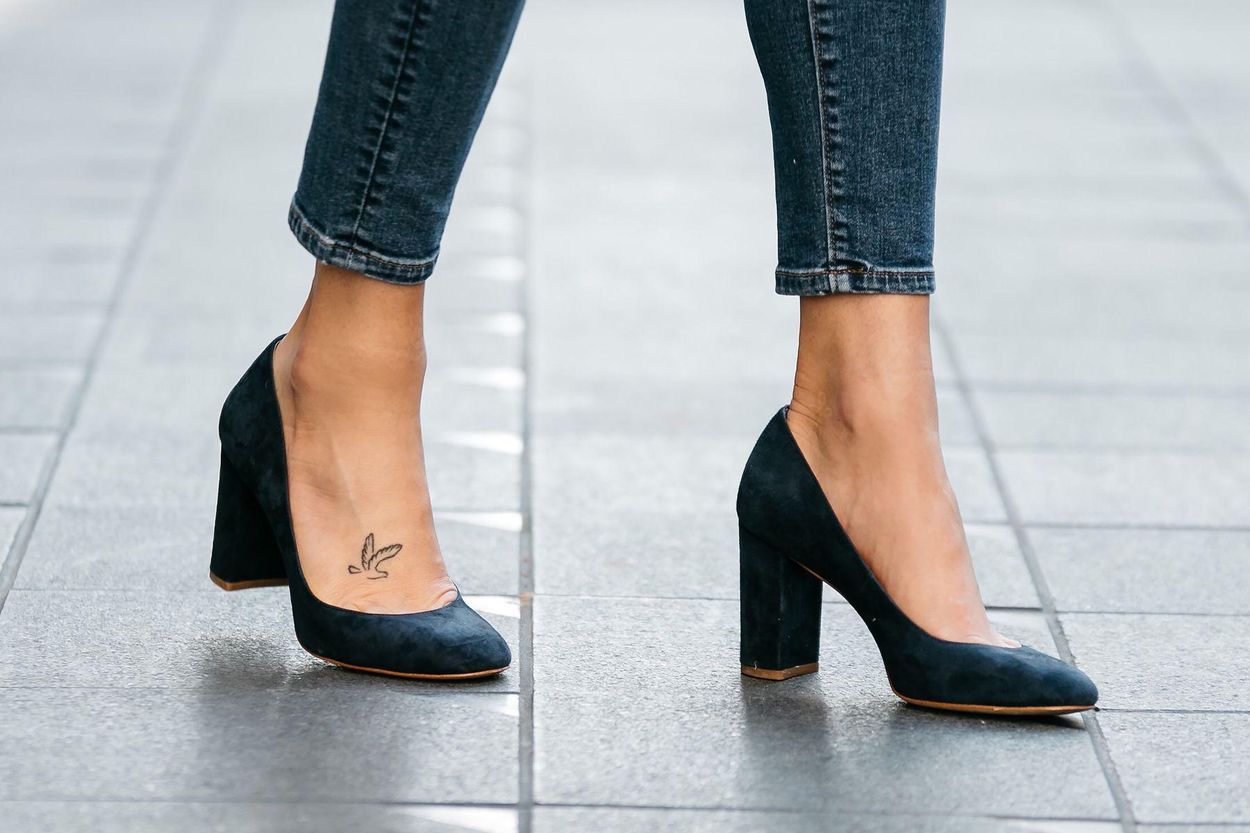 navy suede block heels