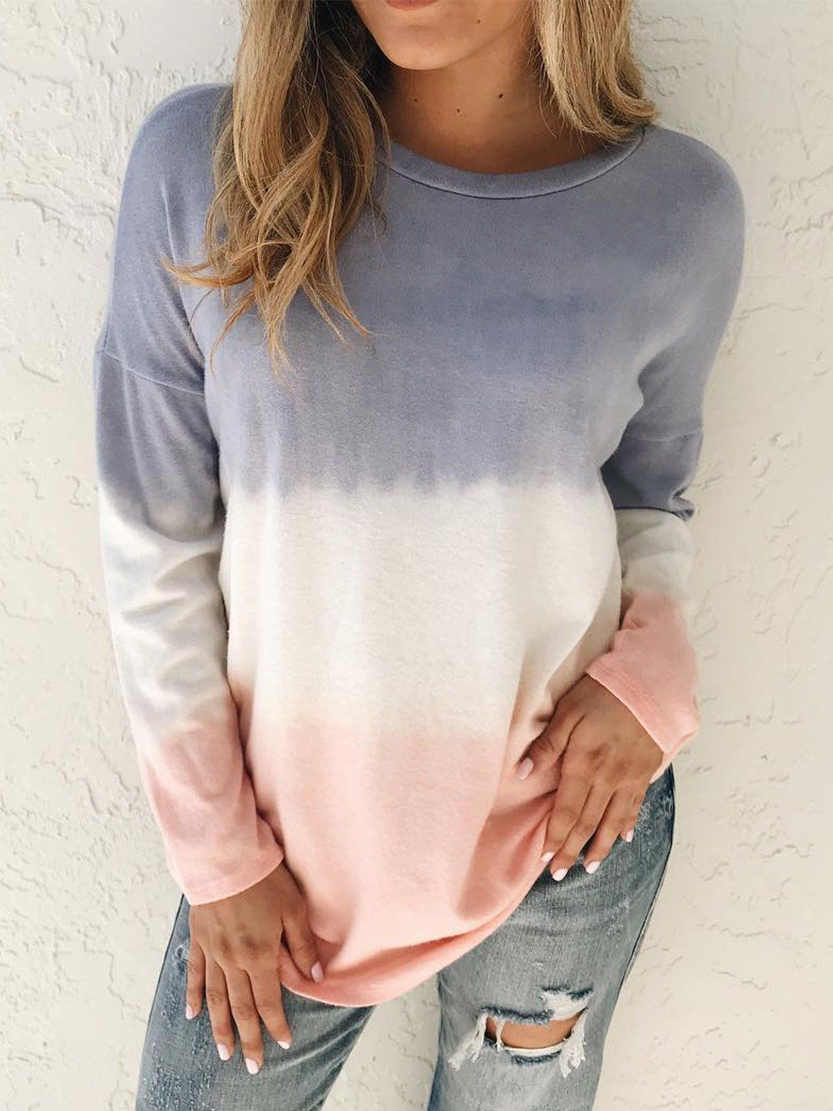 Plus size Ombre/tie-Dye Cotton Casual Shirts & Tops in ...