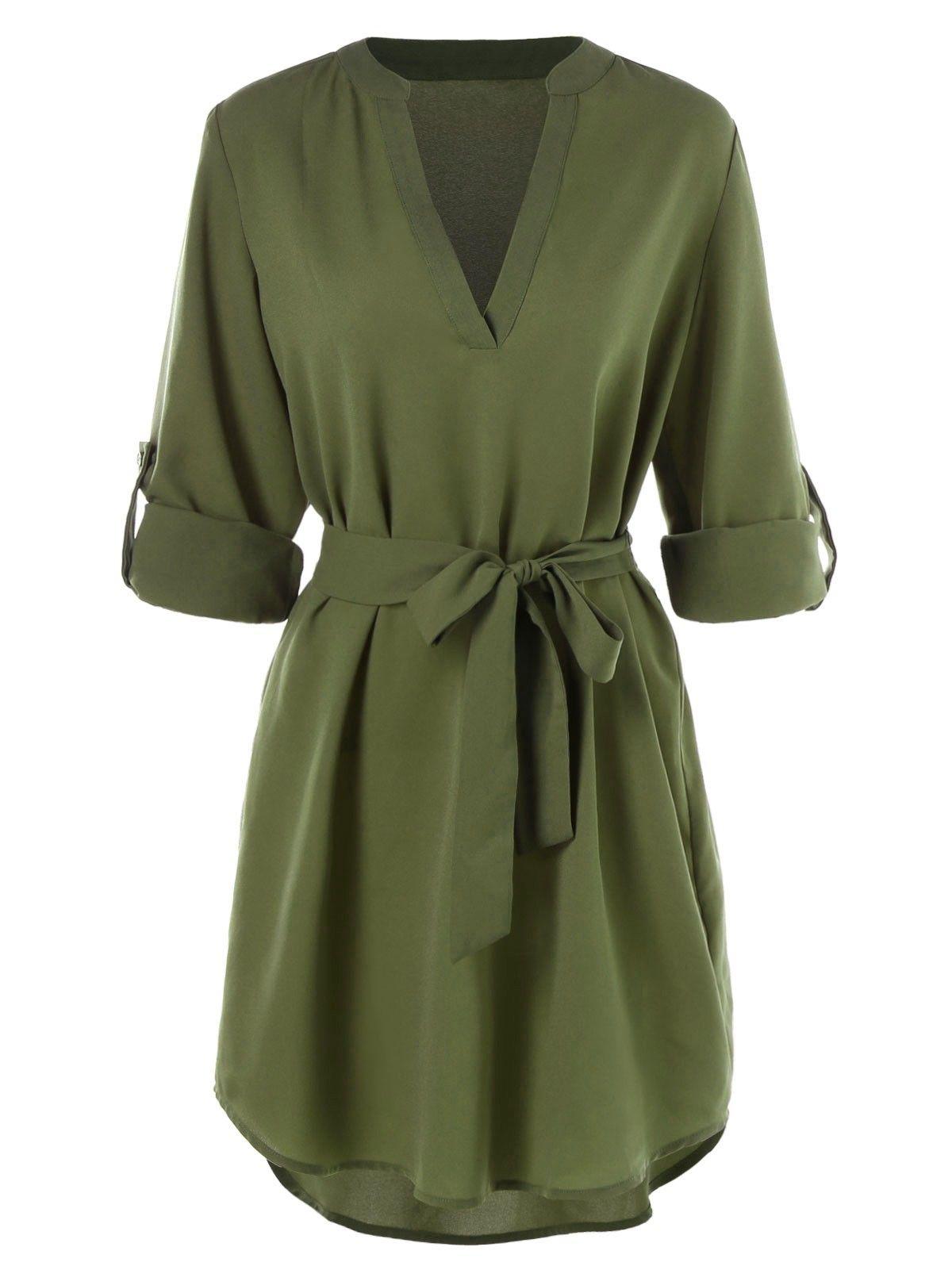 Casual Belted Knee Length Dress Army Green 3877665212 Original Design Women S Clot Knee Length Dresses Casual Green Dress Casual Long Sleeve Casual Dress [ 1596 x 1200 Pixel ]