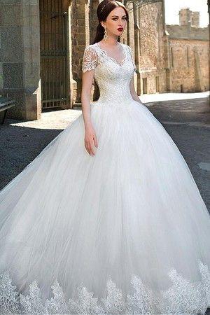 V-Ausschnitt Durchsichtige Ärmel Spitze Brautkleid mit Tüll - Bild 1 ...