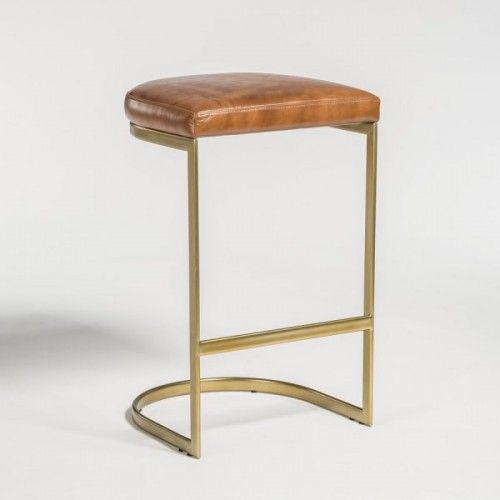 C Shaped Metal Leather Stool Leather Counter Stools Brass Bar Stools Leather Stool