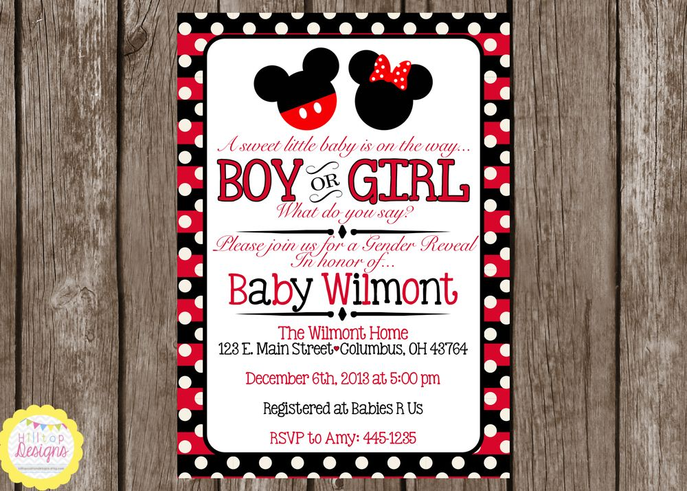 Baby Shower Invitations Mickey And Minnie ~ Minnie mickey mouse gender reveal baby shower invitation