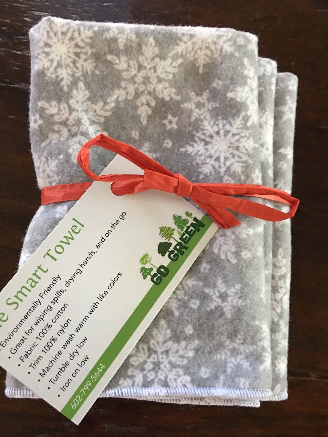 Endeavor flannel shirt  Grey Snowflake Holiday Cotton Flannel Unpaper Towel by Smartkin