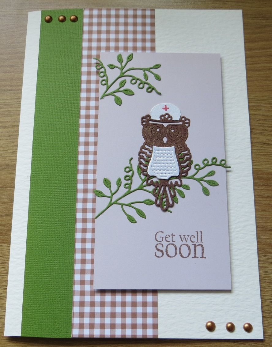 Get well soon with tattered lace owl die