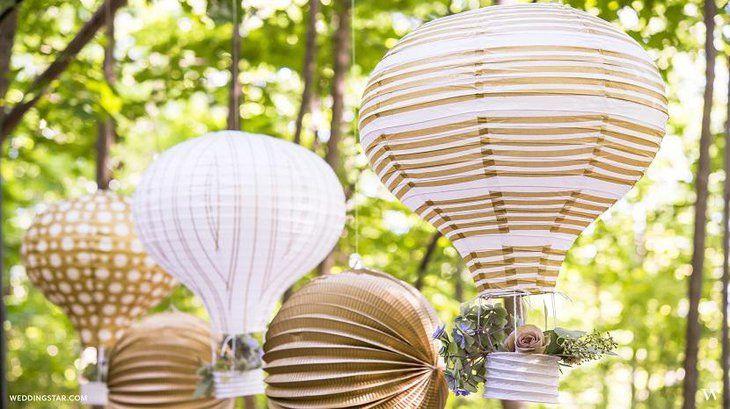 Hot Air Brown And White Wedding Balloon Centerpieces Event Decor