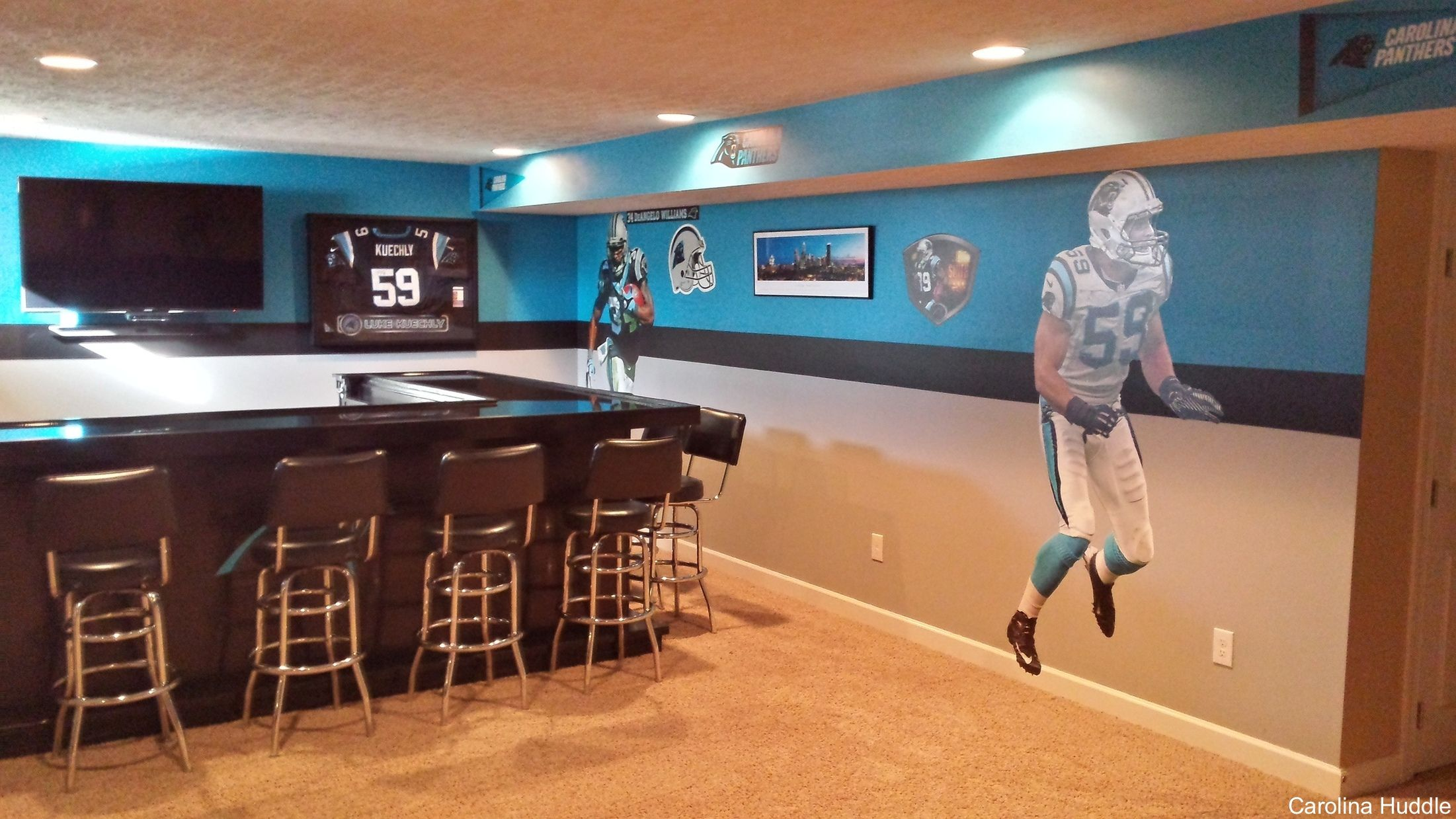 Carolina Panthers Man Cave With A Few Fatheads And Of Course, A Full Bar To