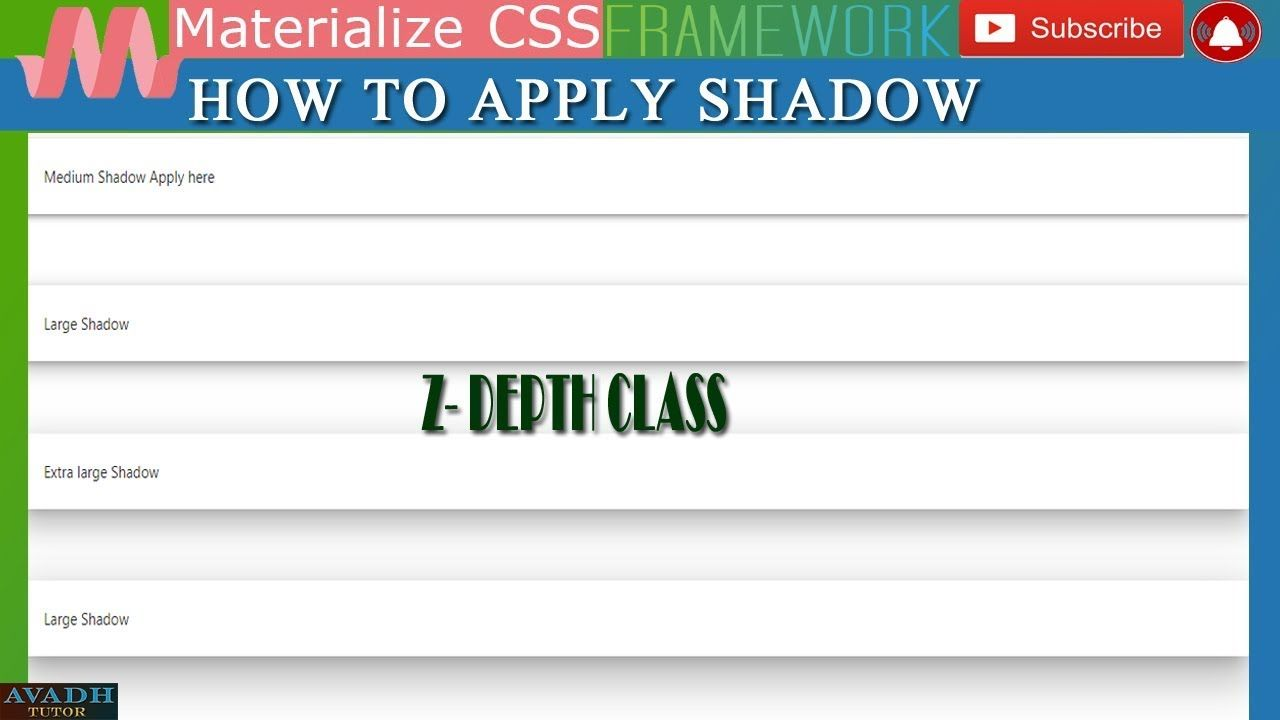 Materialize Css Shadow Z Depth Class Materialize Css Css