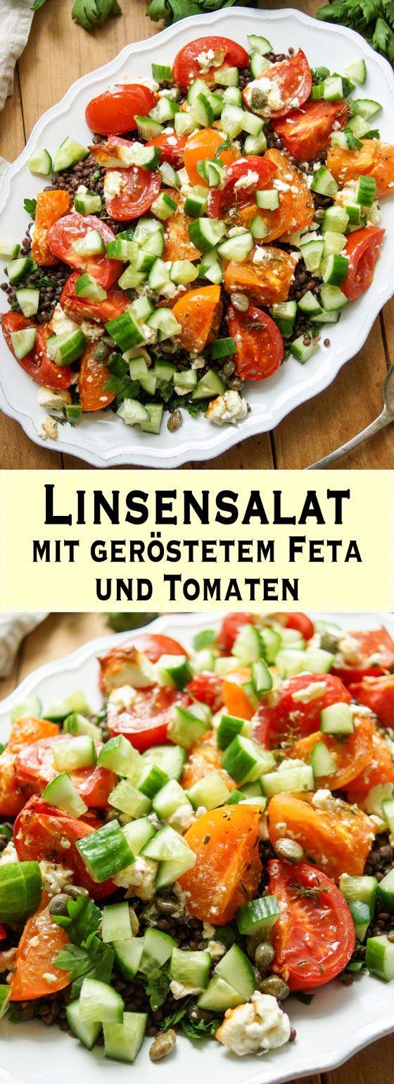Linsensalat mit geröstetem Feta und Tomaten Rezept   Elle Republic