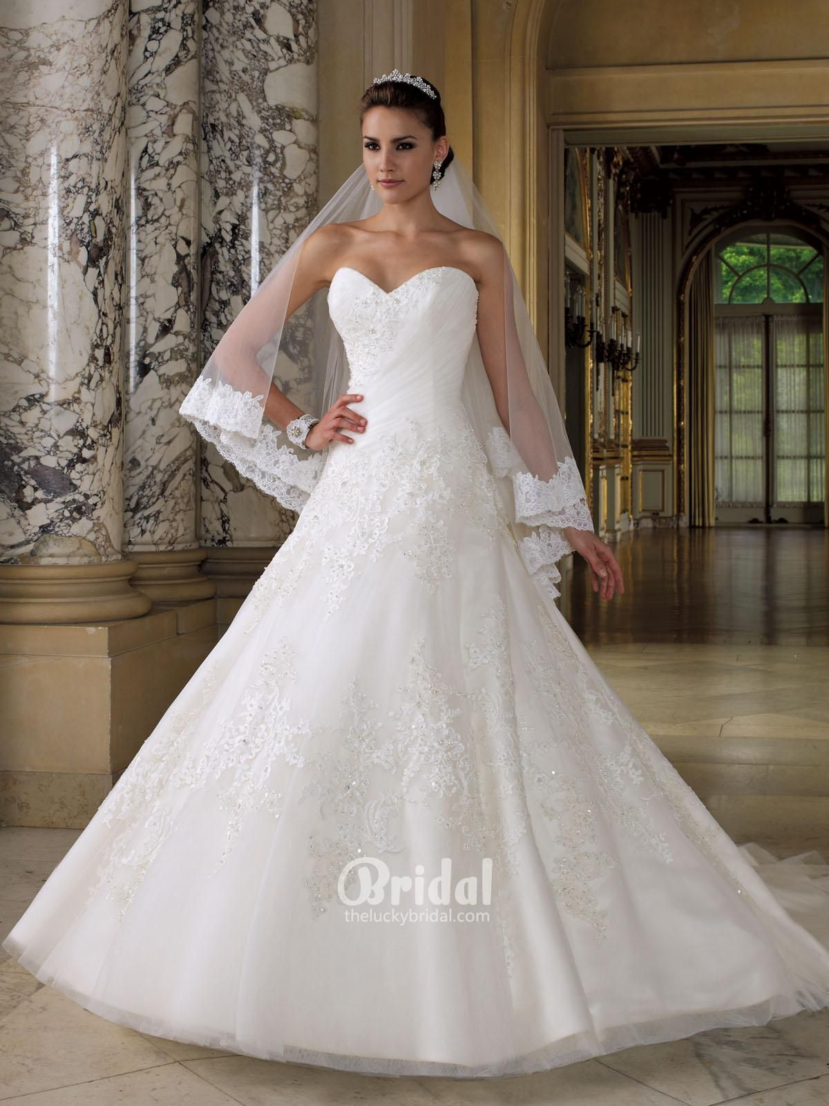 Dipped wedding dress  Sweetheart Strapless Gorgeous Wedding Dress with Embroidered Beaded