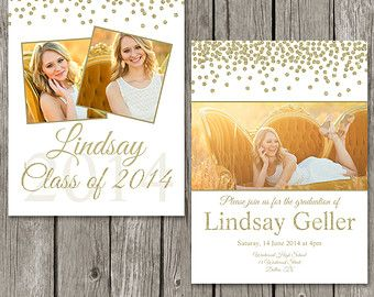 Graduation Announcement Template  Senior Grad Photo Card Design