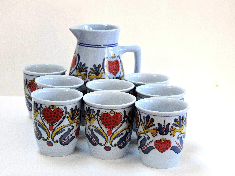 Vintage Lilien Porzellan,Austrian Pitcher and Tumbler Set With Scandinavian Design,Vintage Kitchen,Valentine's Day, FREE SHIPPING