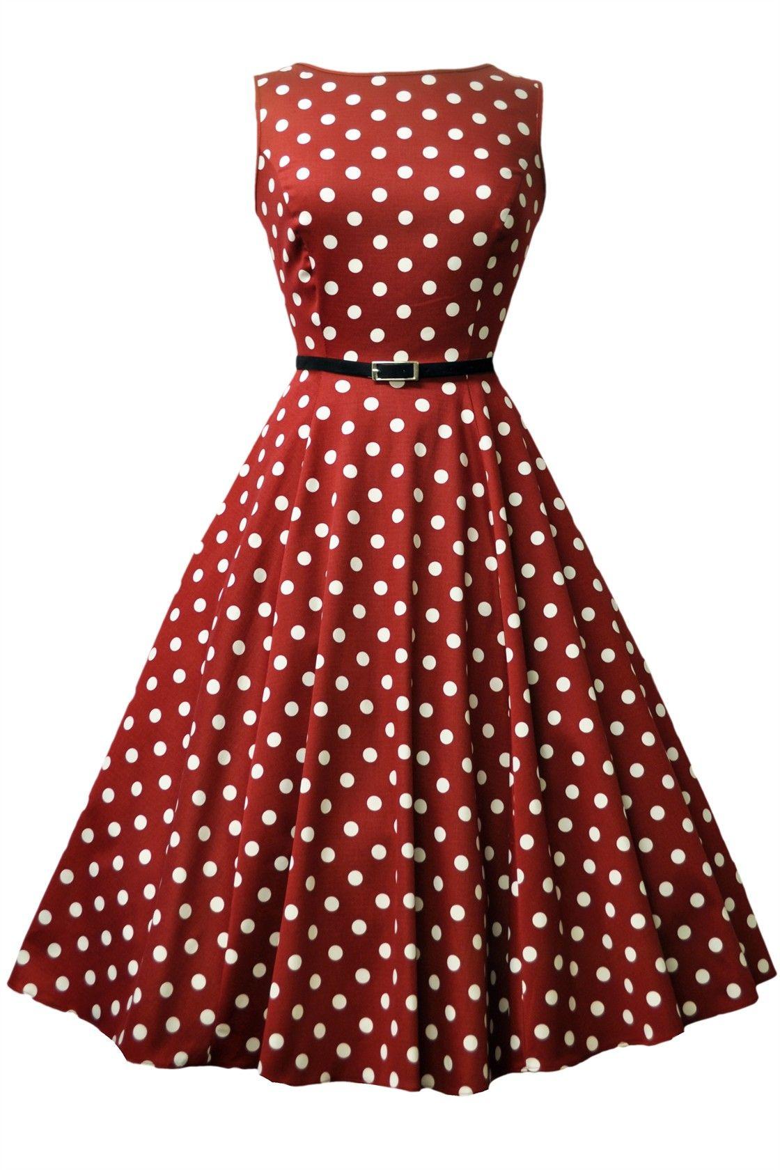 Wine Red Polka Dot Hepburn Kellomekko  Ihastuttava Wine Red Polka Dot kellomekko on todellinen katseenkääntäjä. Audrey Hepburn -tyyliä mukaileva mekko on upea kokonaisuus, jossa yhdistyvät mahtavat värit, ihana leikkaus ja ajattomuus.