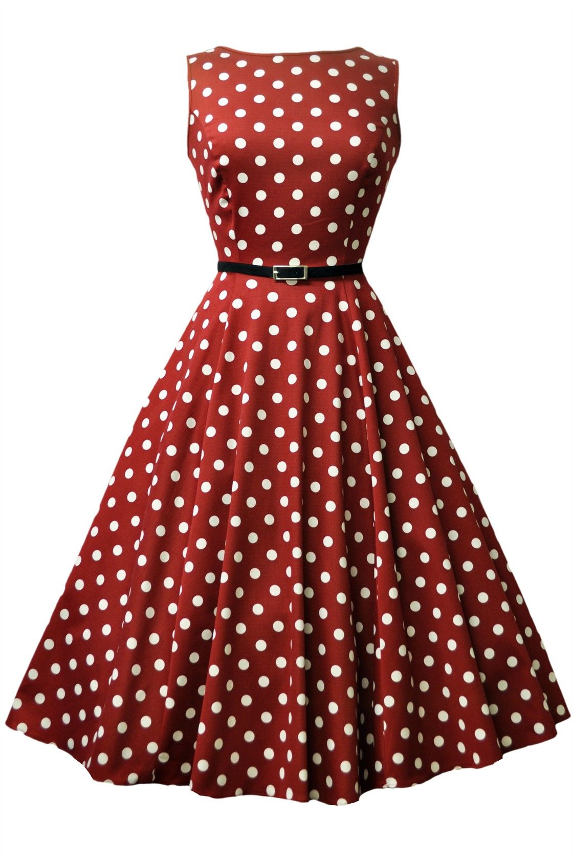 Wine Red Polka Dot Hepburn Dress - £45. Made in London. Sizes 8-28.