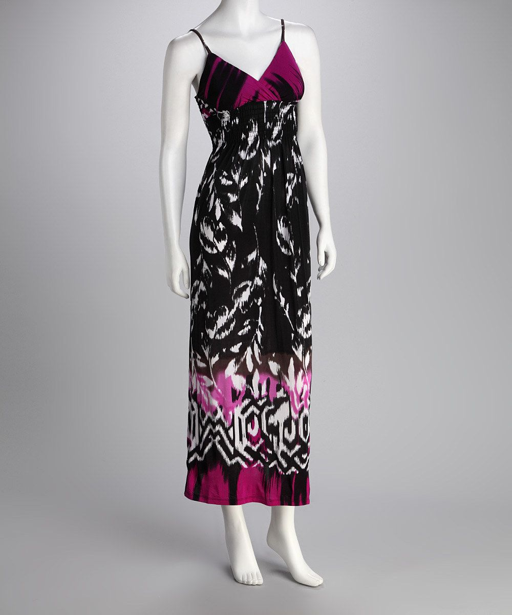 Black & Purple Abstract Surplice Dress  $16.99 on Zulily