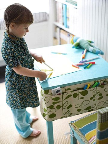 Cute storage for kid craft table