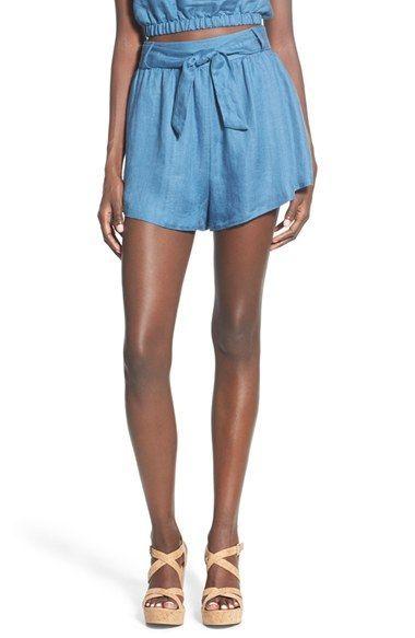 Lush Tie Waist Linen Blend Shorts