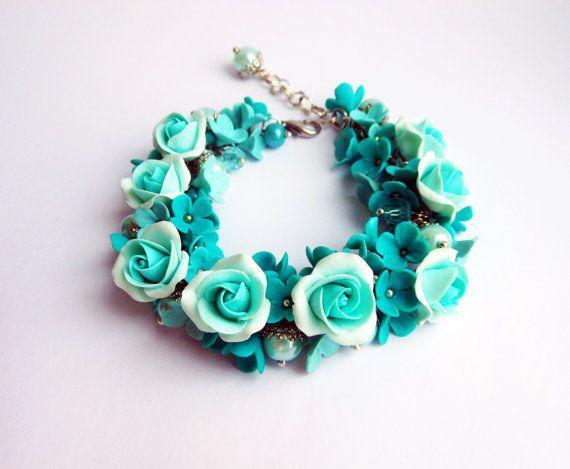 Free Shipping Turquoise Charm Bracelet By Ksuhajewelryflowers