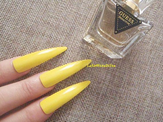 Yellow Fake Nails Stiletto Long Nails False Nails Drag Queen