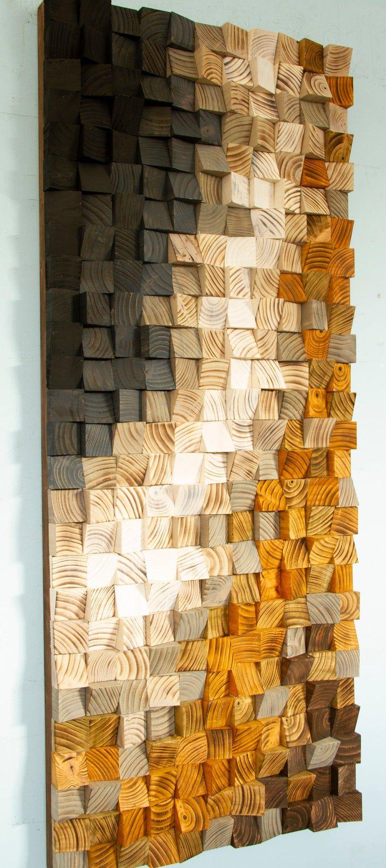 Reclaimed Wood wall Art, Black River, wood mosaic, geometric art #reclaimedwoodwallart