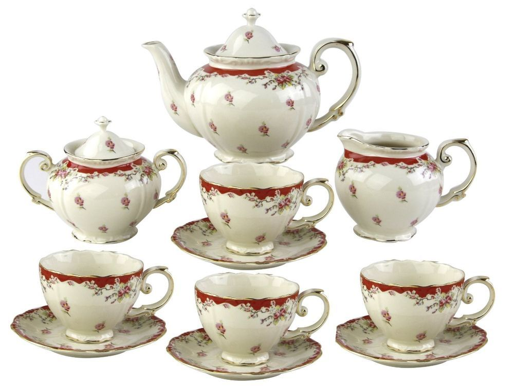 Tea Set Vintage China Porcelain Teapot Gracie Antique Style English Teacup Red Ebaycollections