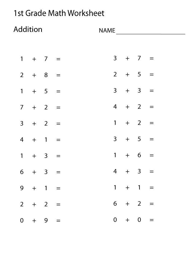 Addition Worksheets For Kids Worksheet School Easy Math Worksheets First Grade Math Worksheets 1st Grade Math Worksheets