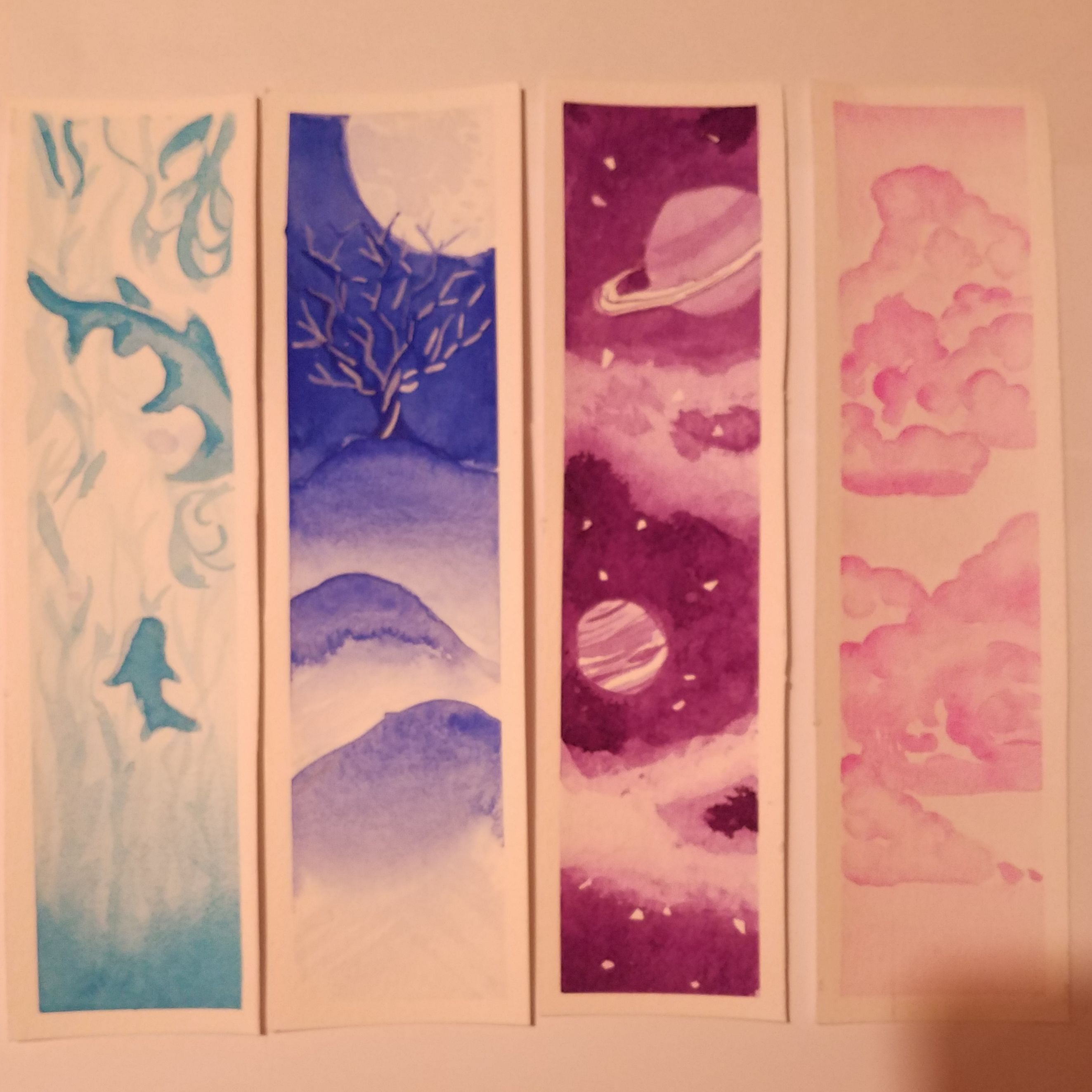 A Set Of Monochrome Watercolor Bookmarks By Fireflight Art