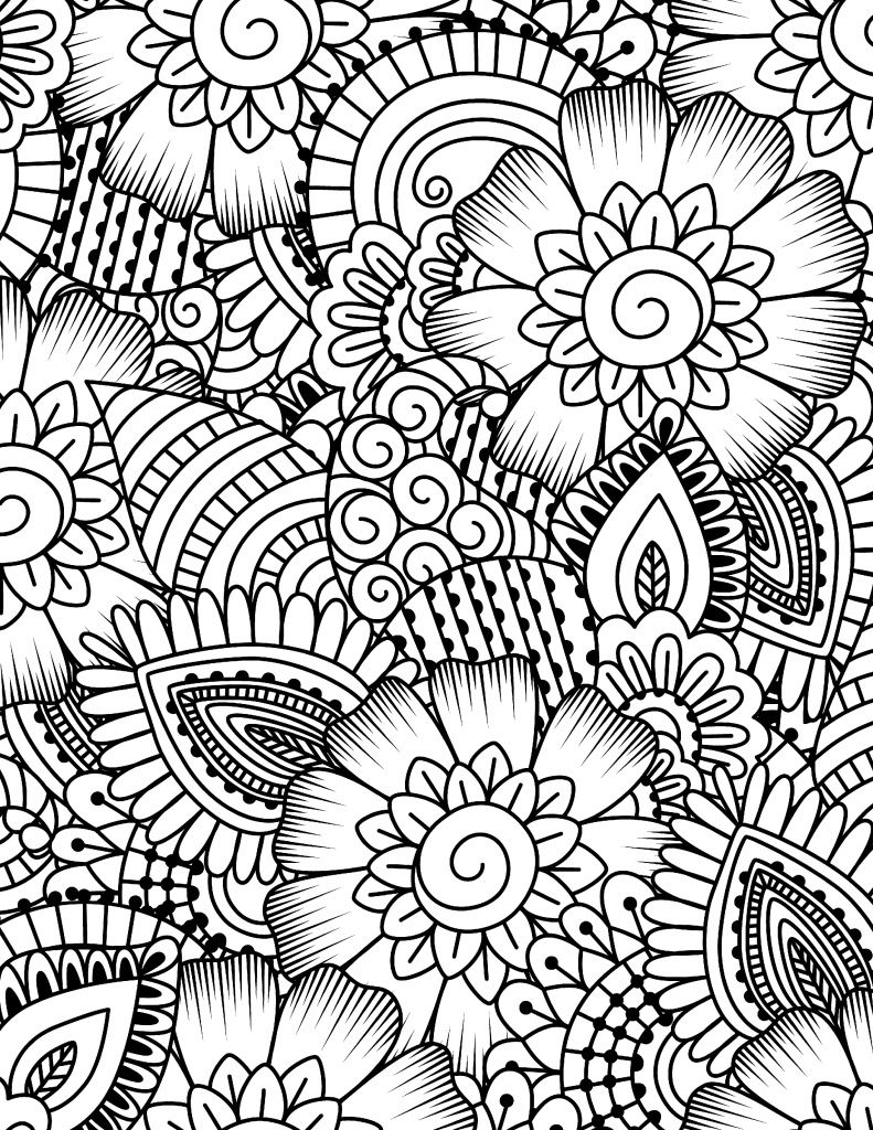 Free Printable Coloring Page Flower Collage | картинки | Pinterest ...