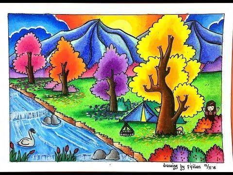 Cara Menggambar Dan Gradasi Warna Tema Pemandangan Alam Cara Menggambar Pemandangan Alam Rumah Dan Danau Dengan Cara Tema Seni Cara Menggambar Seni Krayon
