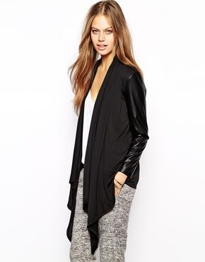 Supertrash Drape Cardigan With Leather Sleeve Sweaters Such