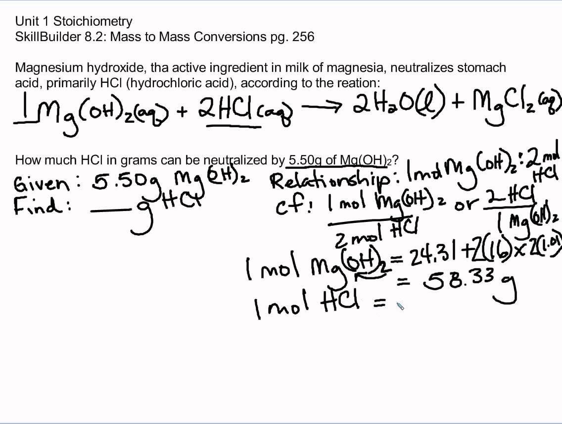 Skillbuilder 8 3 Unit 1 Stoichiometry Chemistry The Unit Book Lovers