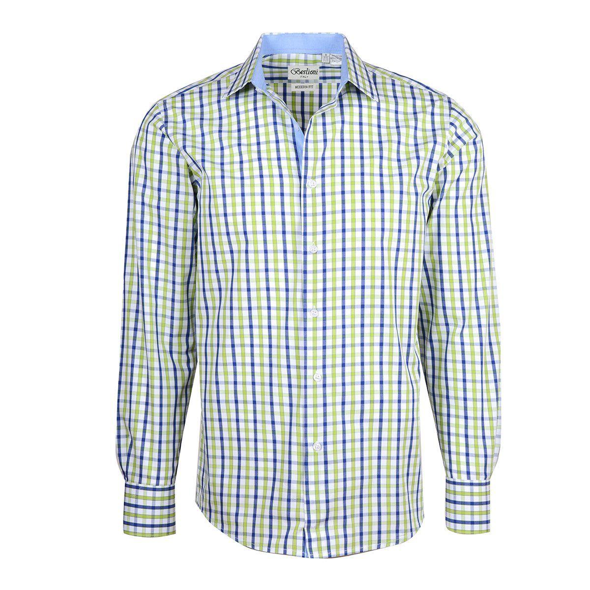 Green checkered dress shirt  Mens Checkered Plaid Dress Shirt Green Large  Neck