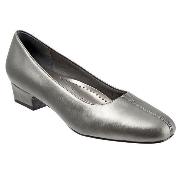 Trotters Womens Doris Leather Pewter Metallic Pumps Heels 8 Narrow (S)