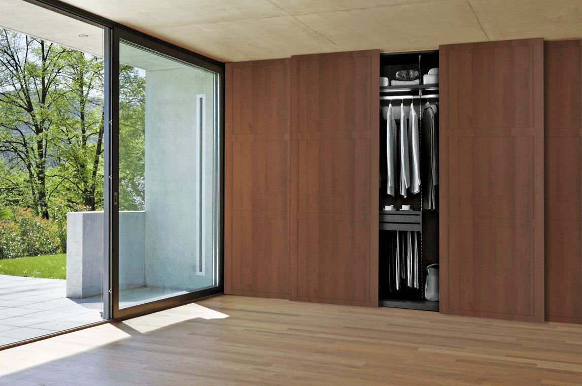 Walnut Wood Shaker Wood Sliding Closet Doors Closet Design