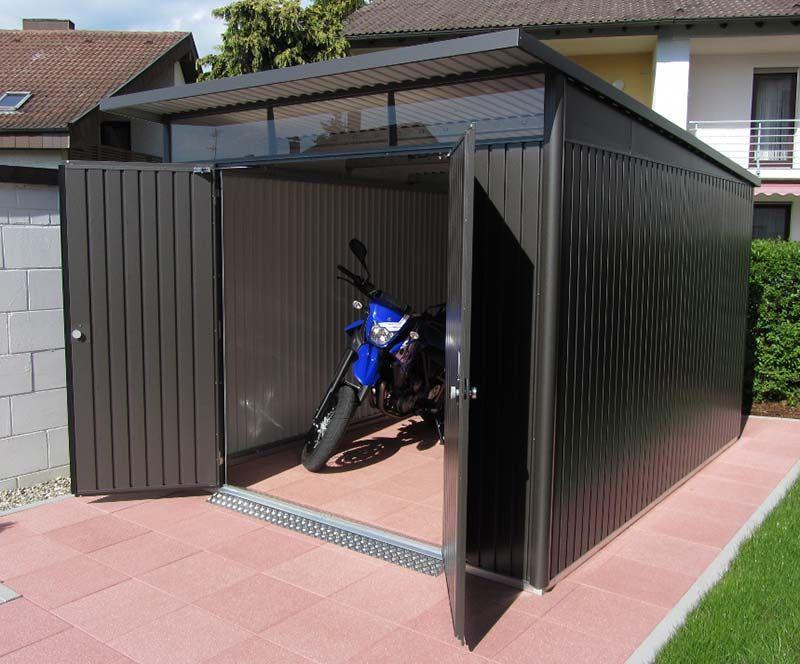 Moped Oder Fahrradgarage Aus Metall Von Biohort Design Gartenhaus Moderne Architektur Pultdach