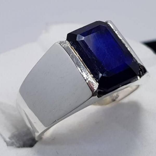 Deep Dark Blue Sapphire 925 Sterling Silver Ring Mens Sapphire Ring Stone Ring Design Natural Blue Sapphire Ring