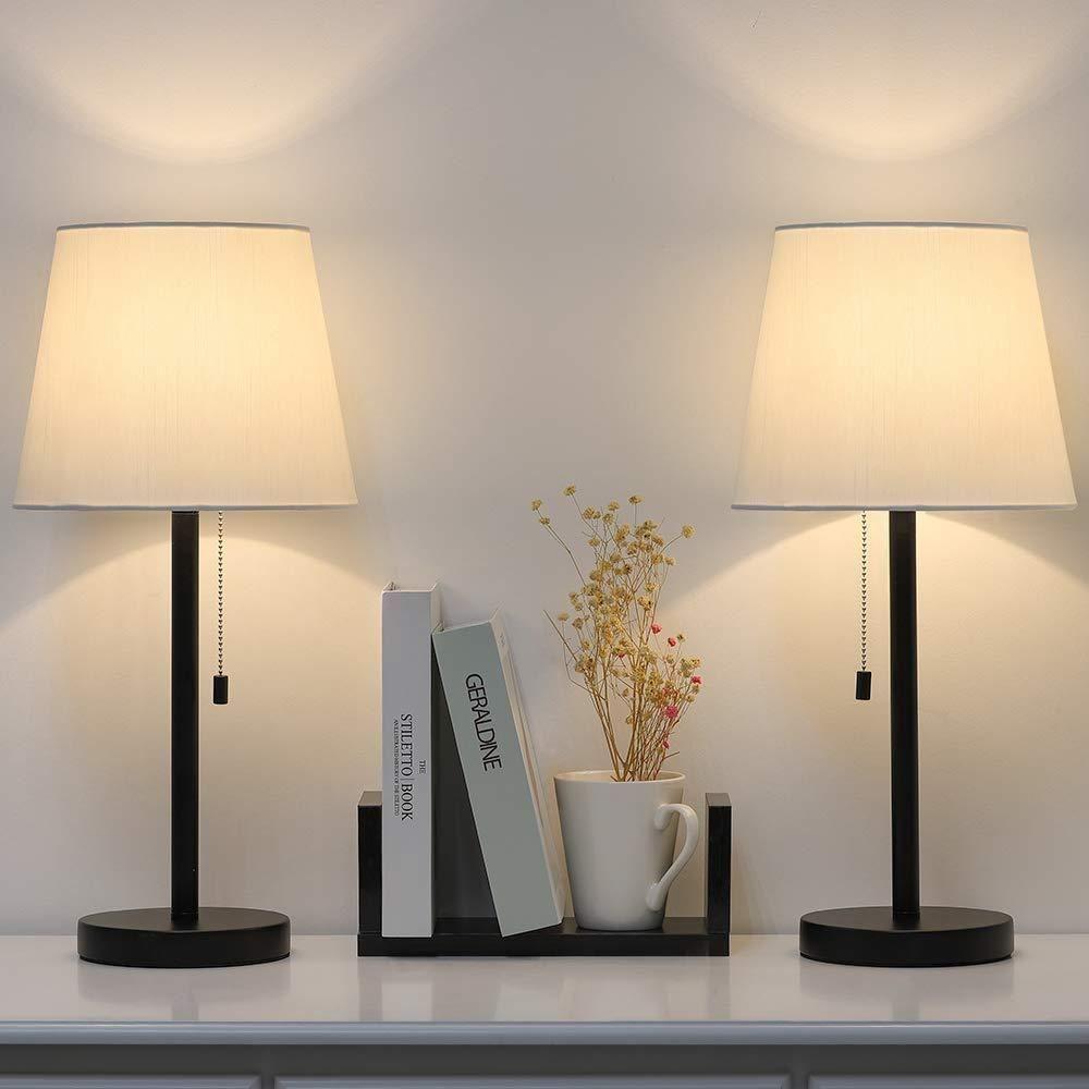 Modern Table Lamp Set Of 2 Bedside Lamps For Bedroom Living Room Nightstand Dresser Desk Coffee Tab Bedside Table Lamps Modern Table Lamp Table Lamp Sets