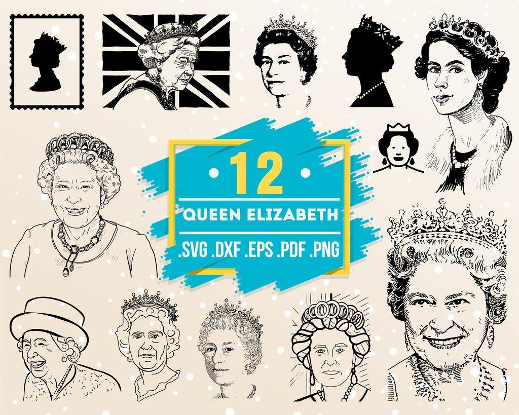 Queen Elizabeth Svg Famous People Portrait Celebrity Svg Print Art Portrait Art T Shirt Vector File Eps Dxf Svg Pdf Png Png Svg Art Prints