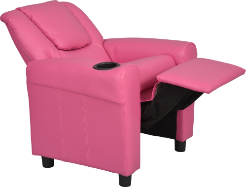 ambre fauteuil relax pour enfant en rev tement similicuir rose vif d tente par pression du dos. Black Bedroom Furniture Sets. Home Design Ideas