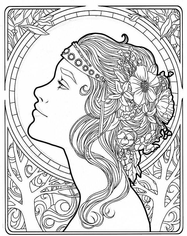 Pin By Elisabeth Quisenberry On Color Her Pretty Coloring Pages Colorful Art Art Nouveau Design
