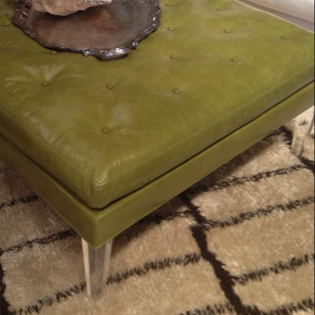 Green Leather Ottoman With Lucite Legs By Lee Industries