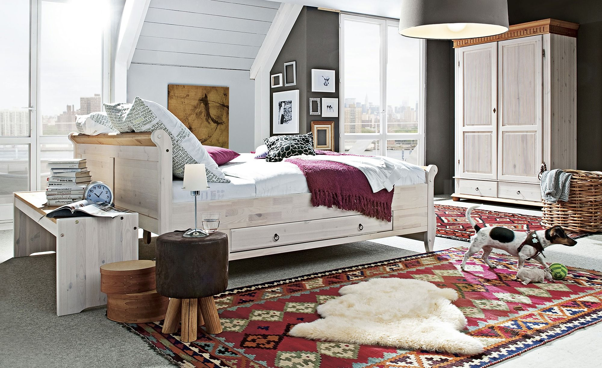 Bettgestell 180x200 Weiß Kiefer Landhaus Stil Bornholm