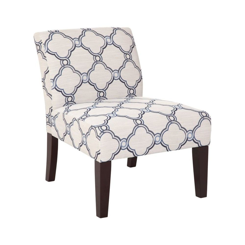 Armless Slipper Accent Chair In Blue And White Quatrefoil